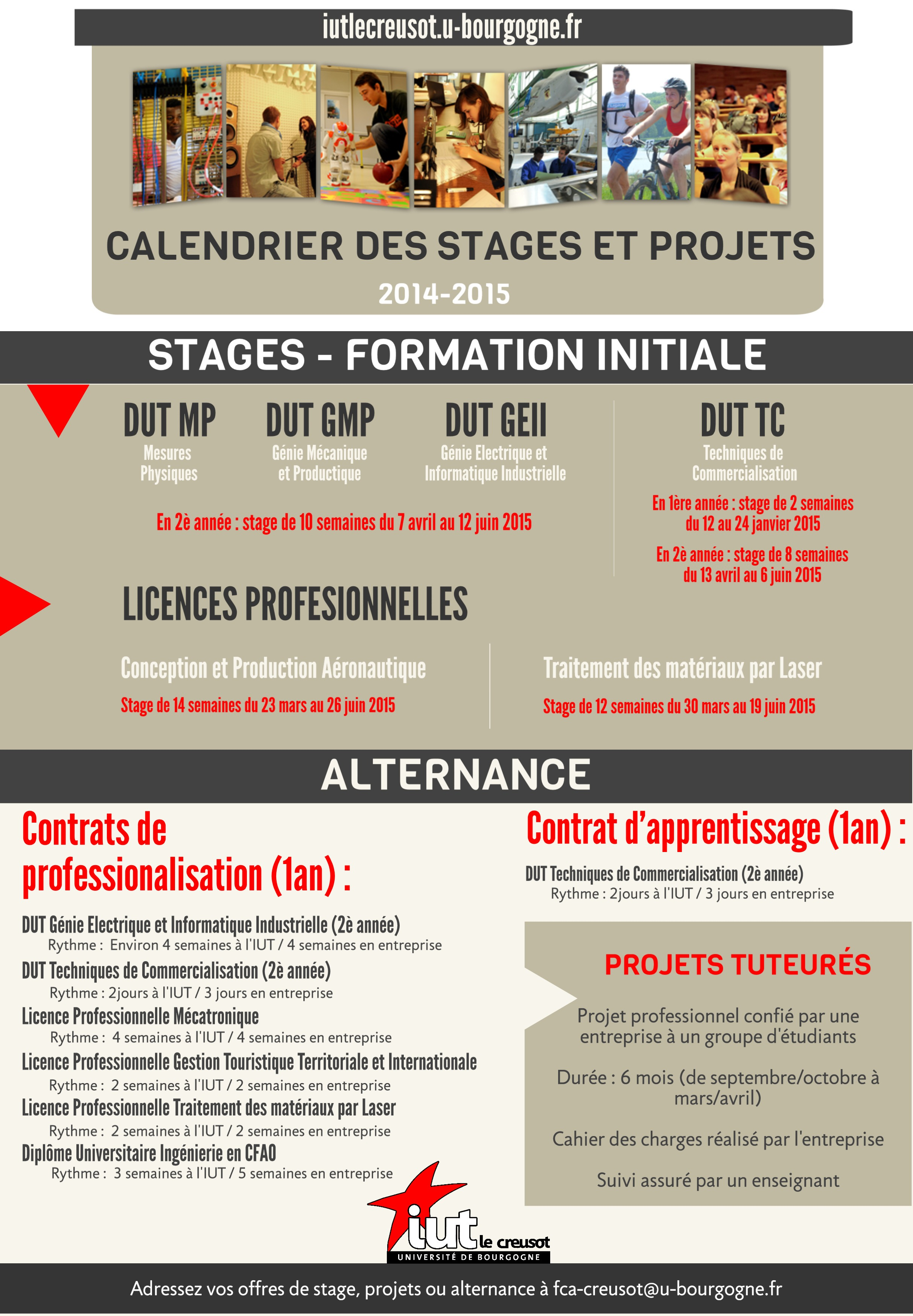 calendrier stages projets